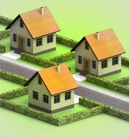 three houses in neighborhood on white illustration illustration