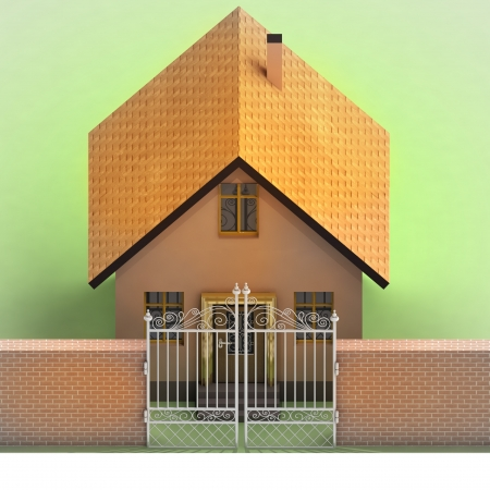 house with closed iron fence in brick wall  illustration illustration