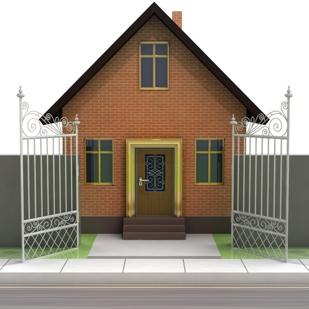 brick house with opened iron fence front view illustration illustration