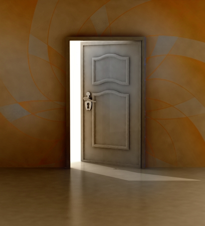 hope symbol of light: doorway entrance with floral painted wall illustration Stock Photo