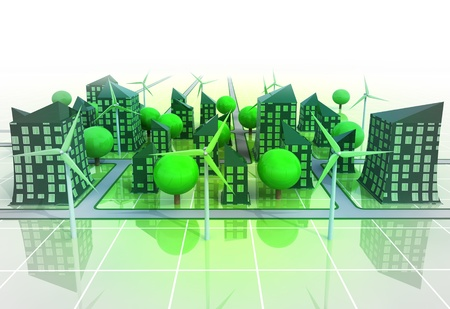 green buildings: windmill powered cityscape concept illustration