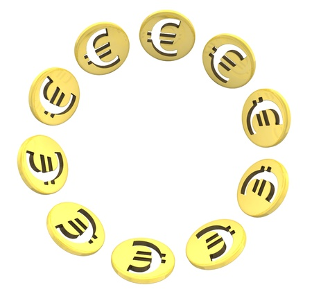 isolated euro golden coin symbol on white illustration illustration