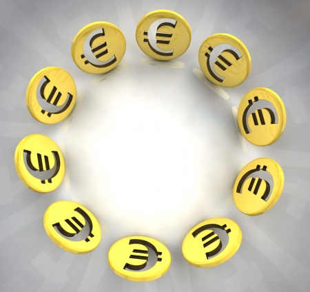 trade union: euro golden coin symbol composition illustration