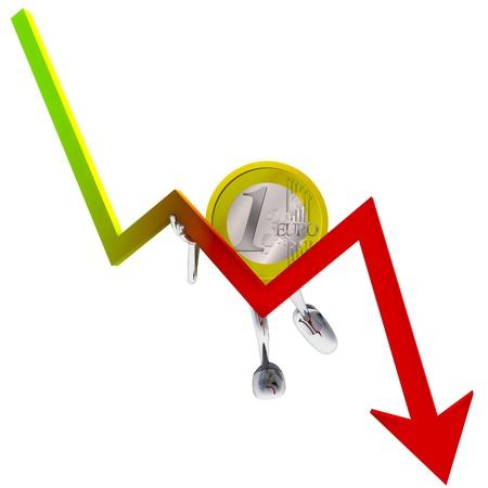 descending: euro coin robot holding descending graph illustration rendering