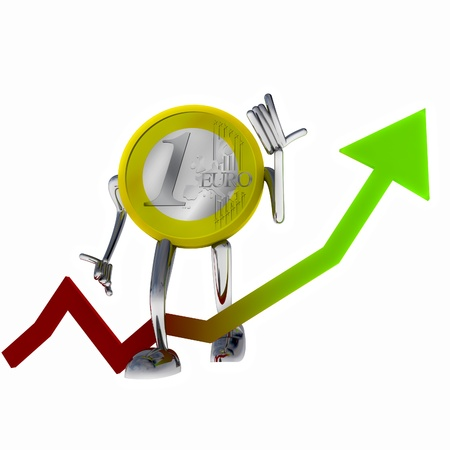 euro coin robot improve stock growth illustration rendering illustration