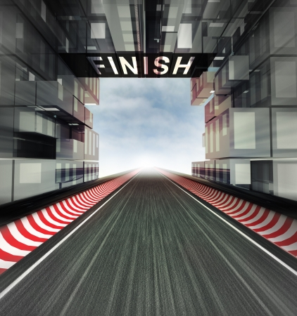 finish panel above racetrack in modern city space illustration Фото со стока