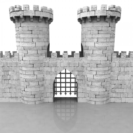 stoned: isolated medieval stoned castle gate with towers illustration Stock Photo