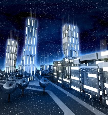 alighted: Modern city with alighted windows in winter blizzard illustration