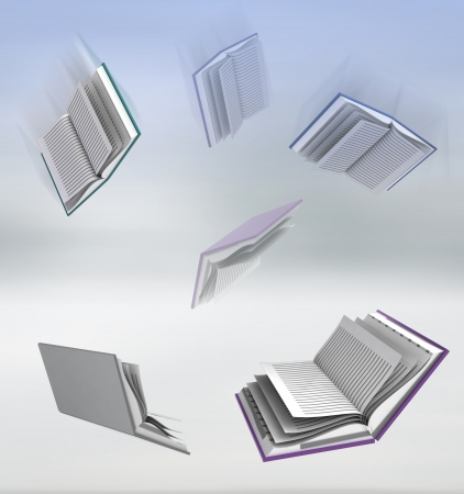 succes: flying books on blur background illustration