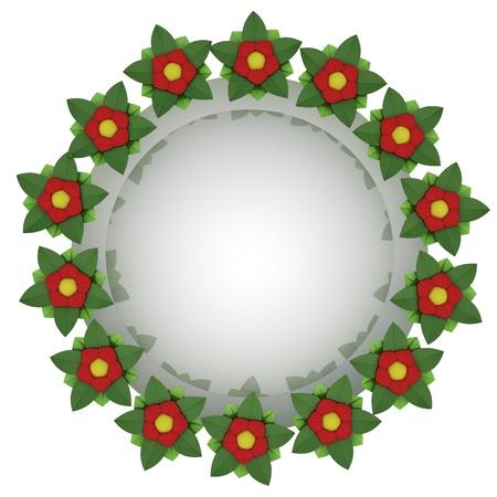 isolated red blossom circle editable card motive illustration illustration