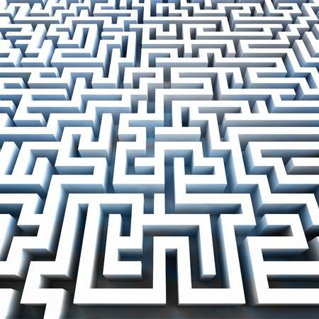 escape route: find pathway inside blue labyrinth illustration