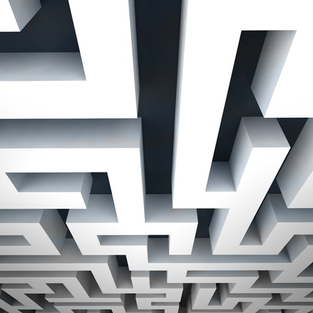 escape route: labyrinth asymmetrical structure shape illustration Stock Photo