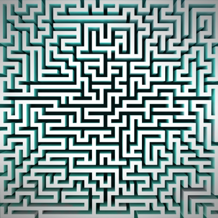 labyrinth blue light structure perspective top view illustration Stock Illustration - 18827599