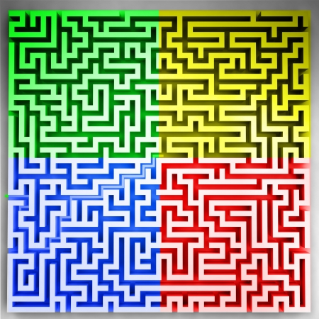 players sector on three dimensional maze top view illustration Stock Illustration - 18827786