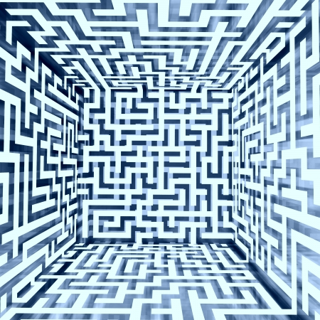 escape route: blue white dimensional maze composition inside look illustration