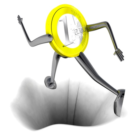 euro coin robot jumping above hole rendering illustration Stock Illustration - 18827118