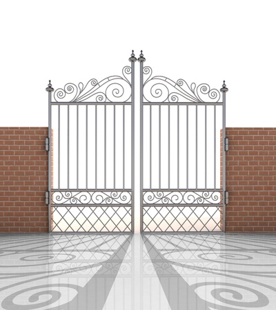 isolated closed iron gate in strong brick wall illustration illustration