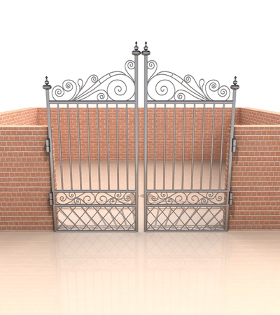closed iron gate in quadrilateral brick fence illustration Stock Illustration - 18828024