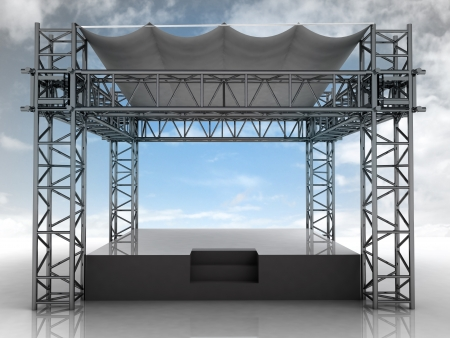 empty podium with roof and blue sky front view illustration illustration