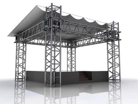 performance stage podium with plastic roof perspective illustration illustration