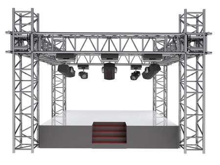 isolated stage podium with many spotlights illustration illustration