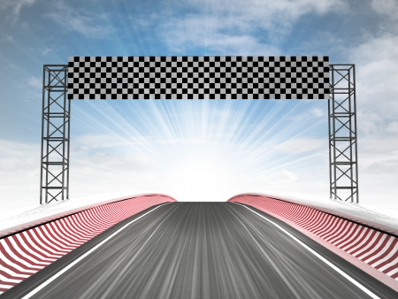 formula car: formula racing finish line view with sky illustration Stock Photo