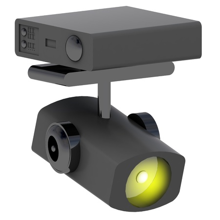 one yellow lighted isolated spotlight isometric illustration illustration