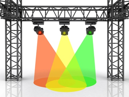 stage space with three colorful spotlights illustration illustration