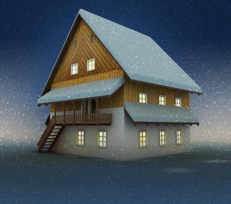 alighted: Old mountain hut and window lighting at night snowfall illustration Stock Photo