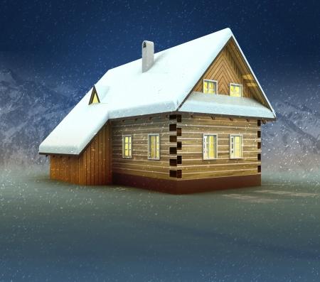 alighted: Old cottage window lighting at night snowfall illustration