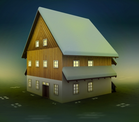 alighted: Classical cottage window lighting at night illustration Stock Photo