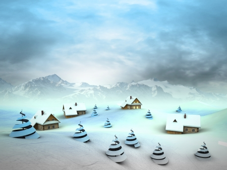 Winter village perspective with high mountain landscape illustration Stock Illustration - 18827364