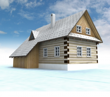 timbered: Classical mountain cabin with blue sky illustration Stock Photo