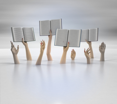 composition of arms holding books, blur background illustration Stock Illustration - 18827553