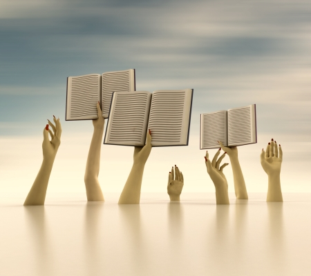 knowlage: arms holding books on horizontal blur background illustration Stock Photo