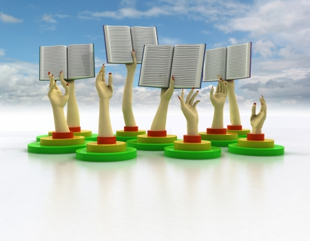knowlage: arms holding books with cloudy sky illustration