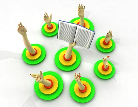 succes: arm holding book with hands in circle around illustration Stock Photo