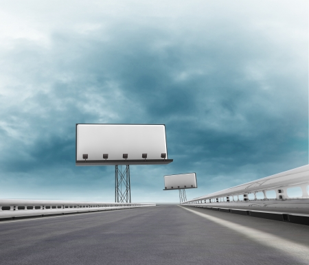 afar: speedway with two billboards afar with sky illustration Stock Photo