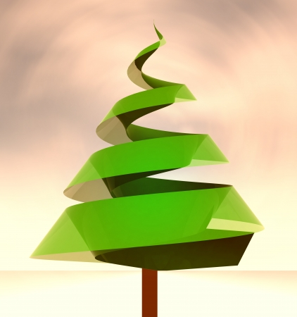 green tree conceptual shape at windy weather illustration illustration