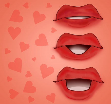 red romantic mouth card with hearts illustration illustration