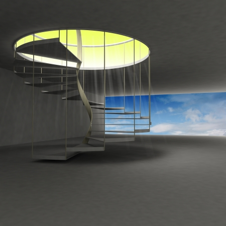 above clouds: spiral staircase leading to gold heaven above clouds illustration