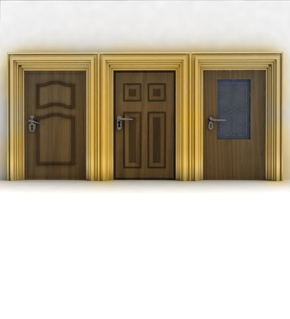 three closed wooden doors illustration illustration