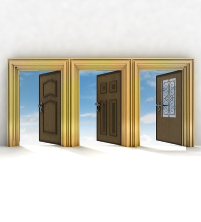 three different doorway your of life  illustration illustration