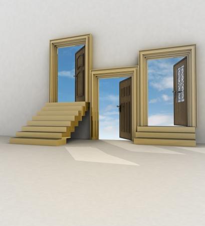 different ways: three different ways of life illustration Stock Photo