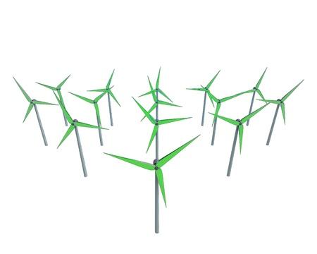 rural development: isolated green windmill generators field illustrations