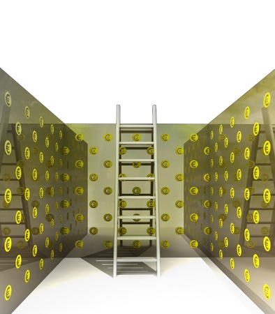 ladder and euro pattern on the walls illustration Stock Illustration - 18827650