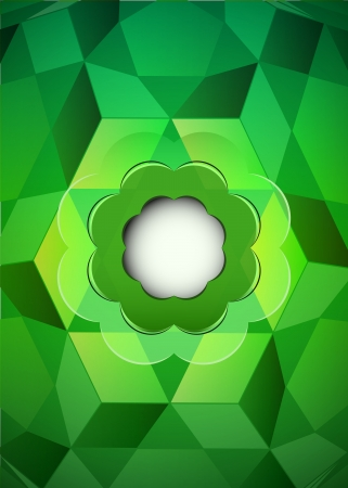 cubic dimensional green layout with blank blossom vector illustration Stock Vector - 19155564
