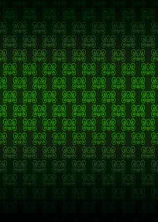 secession: green blossom secession pattern dark background vector illustration