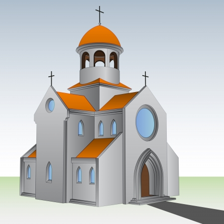 sanctuary: ancient roman basilica with pathway vector illustration