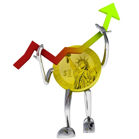 dollar coin robot help rise to investment illustration rendering illustration